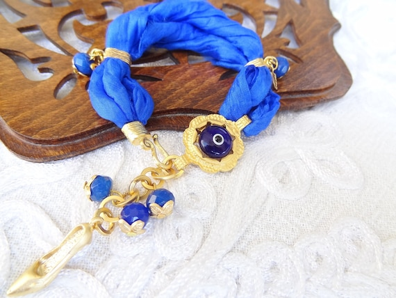 Reserve Turkish Silk Night Blue Bracelet -Luck Eye Bead Bracelet-Gold Bracelet