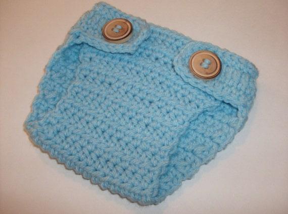 "SALE -   Baby Diaper Cover "" Light Blue "" Newborn """