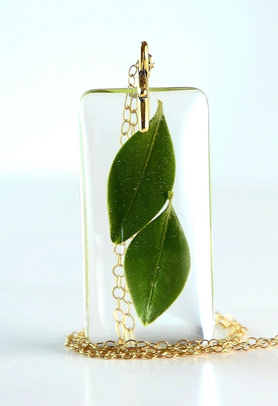 Leaves in Resin Necklace on a 14k gold filled chain, nature resin jewelry, resin jewelry