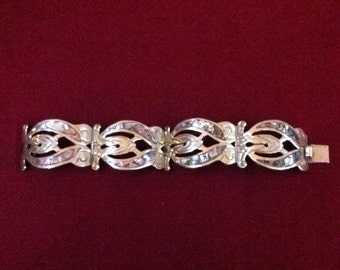 Sterling and Abalone Inlay Panel Bracelet :marked Hecho en Mexico
