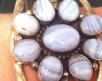 Cloudy Lavender Agate Made in Mexico Cuff : Tested Sterling and Heavy// Over 48 grams// SALE was 168 now 144