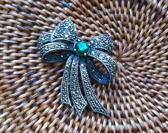 Charles Winston Sterling and Marcasite Brooch with Green CZ : Hallmarked CW and 925  Christmas, Mom, Gift for Her , Mother of the Bride