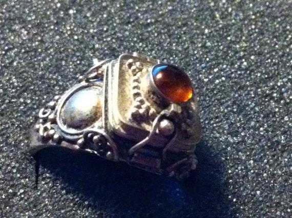 Square Sterling Poison Ring- Ornate