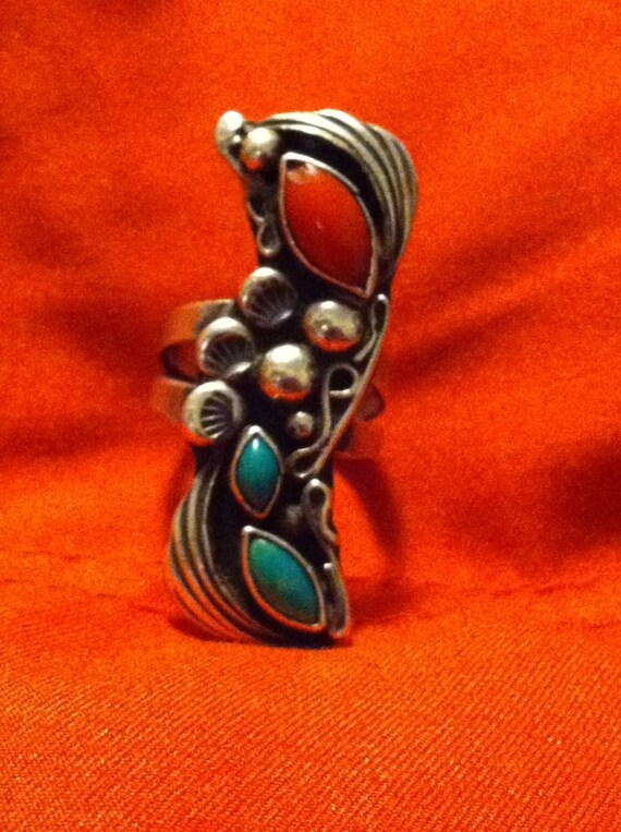 Coral and Turquoise Hi Style Navajo Ring