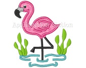 Flamingo Tropical Applique Machine Embroidery Design Cute girl pink baby animal INSTANT DOWNLOAD