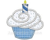 Birthday Cupcake Candle Applique Machine Embroidery Design Download 1st first boy or girl INSTANT DOWNLOAD