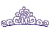 Fancy Tiara Crown Machine Embroidery Design purple Birthday Princess INSTANT DOWNLOAD