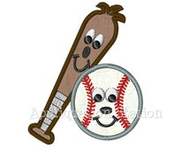 Cute Baseball and Bat Applique Machine Embroidery Design Boy Sport INSTANT DOWNLOAD