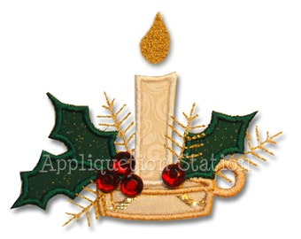 Christmas Candle Applique Machine Embroidery Design Pattern Holly INSTANT DOWNLOAD