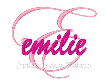 Custom Name Cursive Initial Monogram Any Letter Machine Embroidery Design Download