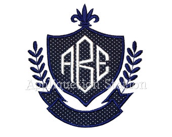 Monogram Crest Applique Machine Embroidery Design INSTANT DOWNLOAD