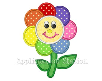 Rainbow Flower Applique Machine Embroidery Design Smiley Face Birthday Girl INSTANT DOWNLOAD