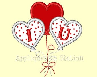 Valentine Heart Balloon Applique Machine Embroidery Design I love you INSTANT DOWNLOAD