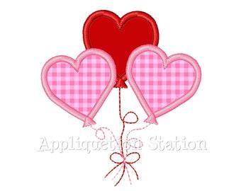 Valentine Heart Balloon Applique Machine Embroidery Design Trio Three INSTANT DOWNLOAD