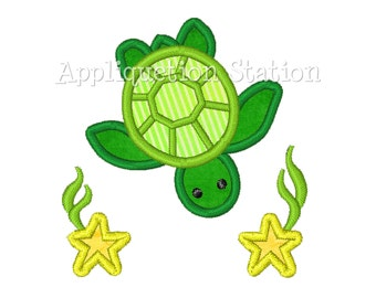 Green Sea Turtle with Star Fish Applique Machine Embroidery Design Boys Baby INSTANT DOWNLOAD