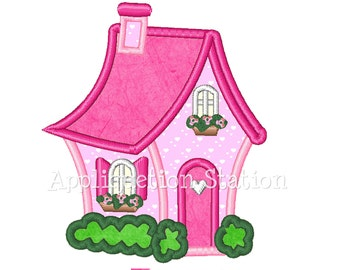 Charming Cottage House Applique Machine Embroidery Design pink villa dollhouse INSTANT DOWNLOAD