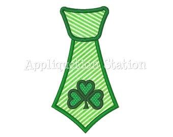 Necktie tie Irish Shamrock St. Patrick's Patty Day Applique Machine Embroidery Design boy green INSTANT DOWNLOAD