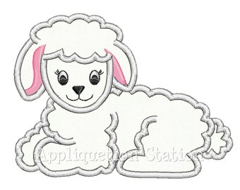 Easter Lamb Applique Machine Embroidery Design Baby White Sheep INSTANT DOWNLOAD