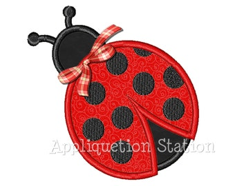 Ladybug Ladybird Applique Machine Embroidery Design red black polka dot bow INSTANT DOWNLOAD