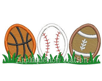 Easter Egg Sport Row Applique Machine Embroidery Design Pattern Download Boy  Baseball Basketball football INSTANT DOWNLOAD