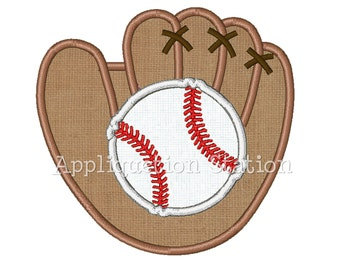 Baseball and Glove Mitt Applique Machine Embroidery Design Boy Sport INSTANT DOWNLOAD