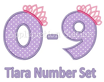 Princess Tiara Birthday Number Set Applique Machine Embroidery Design Download 1st first girl 0,1,2,3,4,5,6,7,8, AND 9 INSTANT DOWNLOAD