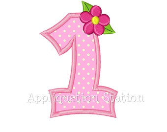 Number One Flower 1st Birthday Applique Machine Embroidery Design pink FIRST girl INSTANT DOWNLOAD