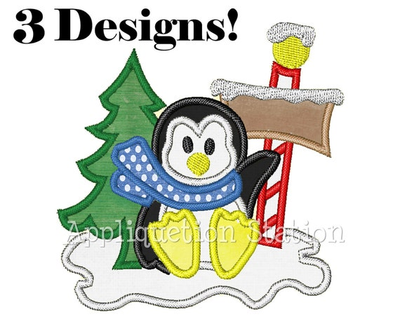 Penguin Winter Fun Applique Machine Embroidery Design North Pole INSTANT DOWNLOAD
