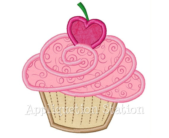 Birthday Cupcake Muffin Heart Cherry Applique Machine Embroidery Design pink red Valentine INSTANT DOWNLOAD