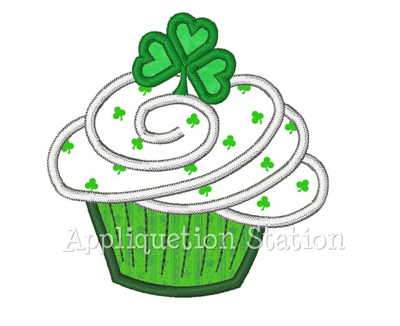 Irish Shamrock St. Patrick's Patty Day Green Cupcake Applique Machine Embroidery Design lucky 4 leaf clover INSTANT DOWNLOAD