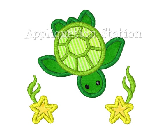 Green Sea Turtle with Stars Applique Machine Embroidery Design Boys Baby INSTANT DOWNLOAD