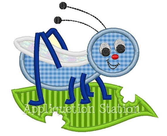 Cricket Applique Machine Embroidery Design blue green boy/girl baby insect bug  INSTANT DOWNLOAD