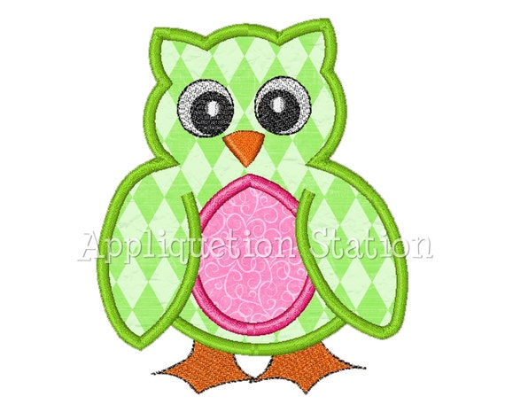 Baby Owl Applique Machine Embroidery Design Pattern Girl Green Pink INSTANT DOWNLOAD
