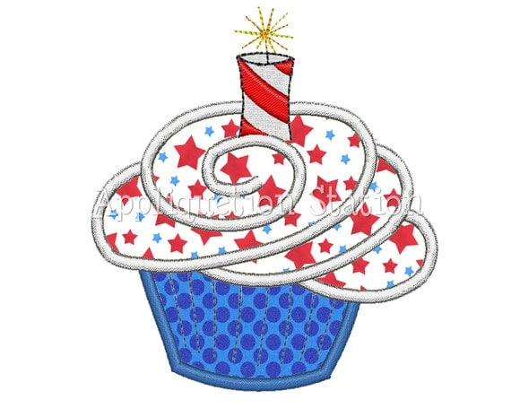 4th of july cupcake sparkler candle applique machine
