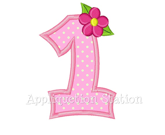Number One Flower 1st Birthday Applique Machine Embroidery
