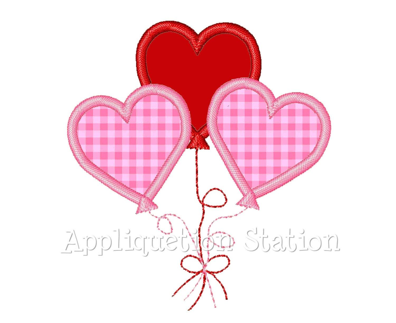 Valentine heart balloon applique machine embroidery design