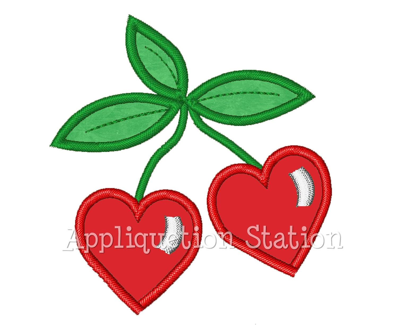 Heart cherries applique machine embroidery design cherry