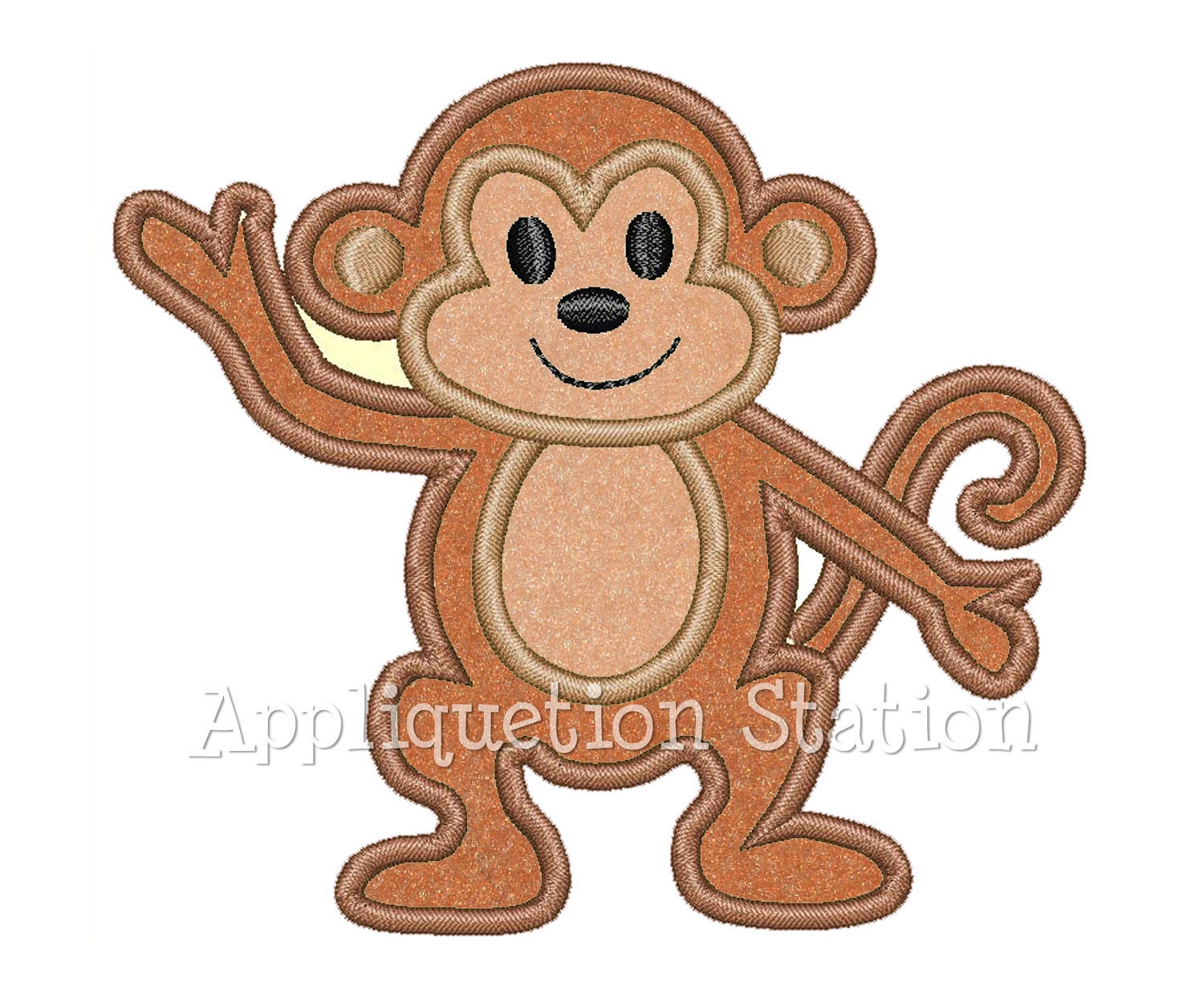 Monkey Tropical Applique Machine Embroidery Design Cute Boys