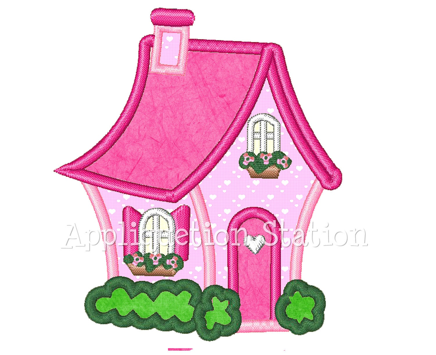 Charming Cottage House Applique Machine Embroidery Design Pink
