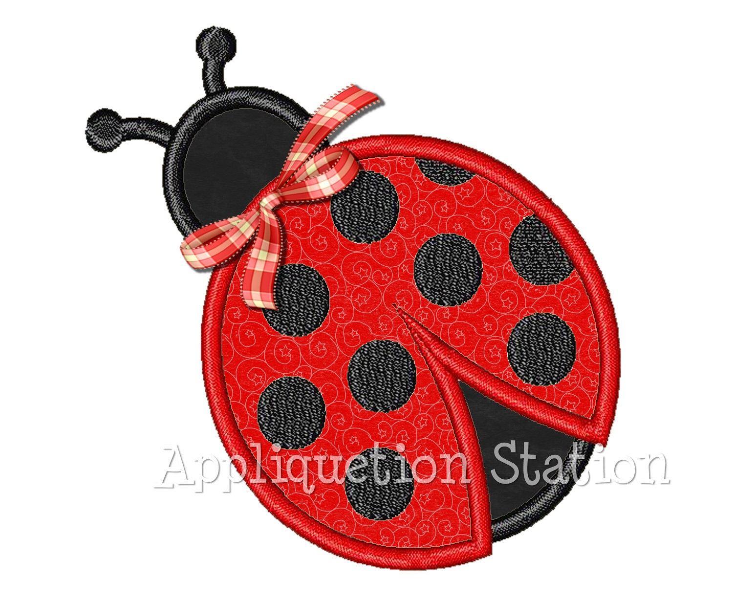 ladybug ladybird applique machine embroidery design red black. Black Bedroom Furniture Sets. Home Design Ideas