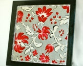 Hand Painted Tray//Black Tray//Red Flowers//Black, Silver, Red