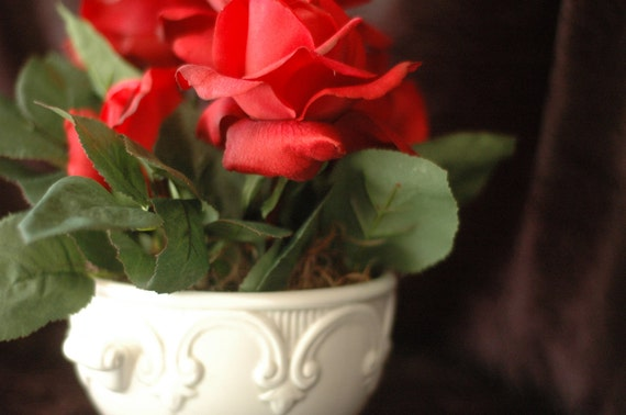 Red Rose Silk Flower Arrangement