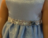 """Blue and Silver Satin Prom Ballgown- 18"""" Dolls"""