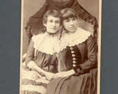Nicely Posed Cabinet Card of Two Girls Under a Lace Parasol
