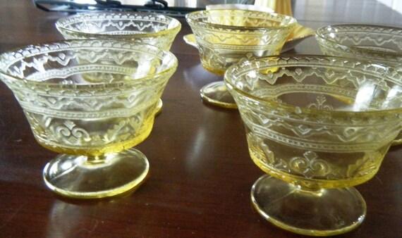 Vintage Vaseline stemmed dessert dishes with delicate designs