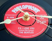 "The Beatles Vinyl Record CLOCK made from recycled ""P.S. I Love You"" / ""Love Me Do"" 7"" vinyl. Romantic Gift"
