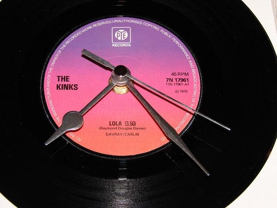 "The Kinks Vinyl Record CLOCK 7"" single. ""LOLA"". Upcycled cult classic."
