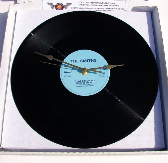 """The Smiths Record Clock. """"What Difference Does It Make"""" from original 12inch vinyl. Boxed."""