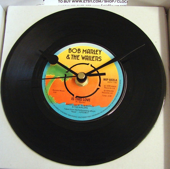 "Bob Marley Vinyl Record CLOCK from recycled 7"" single ""Is This Love"". Comes in a box."