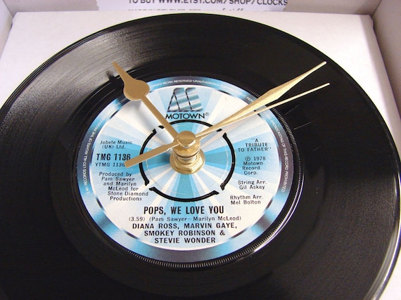 "Motown Vinyl Record CLOCK from recycled 7"" single ""Pops, We Love You"" Christmas gift for dad pop father"